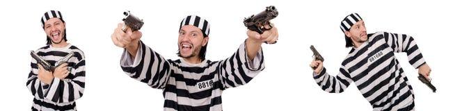 Ο τρόφιμος φυλακών με το πυροβόλο όπλο που απομονώνεται στο λευκό Στοκ Φωτογραφία