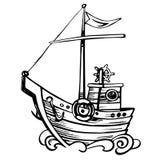 Ο τρύγος η πλέοντας βάρκα σκίτσων ξύλινη διανυσματική απεικόνιση