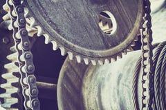 Ο τρύγος τόνισε τις παλαιές ρόδες εργαλείων, βιομηχανικό υπόβαθρο στοκ φωτογραφίες με δικαίωμα ελεύθερης χρήσης