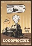 Ο τρύγος χρωμάτισε τη βιομηχανική αναδρομική αφίσα τραίνων ελεύθερη απεικόνιση δικαιώματος