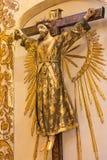 Ο τυποποιημένος Ιησούς Χριστός στο σταυρό ως ιερέα σε Iglesia de SAN Anton Στοκ εικόνες με δικαίωμα ελεύθερης χρήσης
