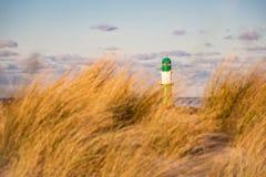 Ο τυφλοπόντικας σε Warnemuende με τη χλόη αμμόλοφων Στοκ Εικόνες