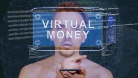 Ο τύπος αλληλεπιδρά εικονικά χρήματα ολογραμμάτων HUD απόθεμα βίντεο