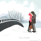 Ο τύπος και το κορίτσι φιλούν σε έναν περίπατο στη χειμερινή διανυσματική απεικόνιση EPS 10 απεικόνιση αποθεμάτων