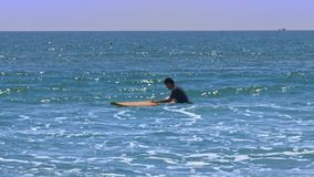 Ο τύπος κρατά την κίτρινη ιστιοσανίδα στα ρηχά foamy κύματα φιλμ μικρού μήκους
