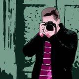 Ο τύπος με τη κάμερα r ελεύθερη απεικόνιση δικαιώματος