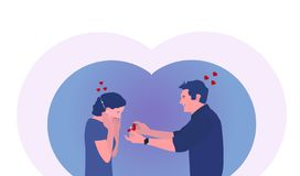 Ο τύπος με το δαχτυλίδι κάνει μια πρόταση στο κορίτσι Διανυσματικό Illustartion ελεύθερη απεικόνιση δικαιώματος