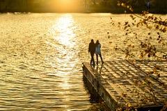 Ο τύπος με το κορίτσι στο πορθμείο το φθινόπωρο σε ένα πάρκο στοκ φωτογραφίες με δικαίωμα ελεύθερης χρήσης
