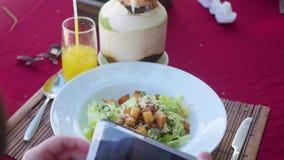 Ο τύπος παίρνει μια εικόνα ενός πιάτου των τροφίμων Πάρτε ένα στιγμιότυπο με ένα γεύμα στο εστιατόριο με μια κινητή τηλεφωνική κά απόθεμα βίντεο