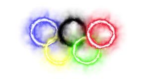 Ολυμπιακά δαχτυλίδια για τους Ολυμπιακούς Αγώνες απόθεμα βίντεο