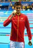 Ολυμπιακός ήλιος Yang πρωτοπόρων της Κίνας κατά τη διάρκεια της τελετής μεταλλίων μετά από την ελεύθερη κολύμβηση ατόμων ` s 200m Στοκ φωτογραφίες με δικαίωμα ελεύθερης χρήσης