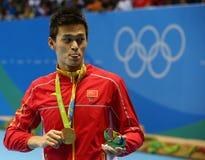 Ολυμπιακός ήλιος Yang πρωτοπόρων της Κίνας κατά τη διάρκεια της τελετής μεταλλίων μετά από την ελεύθερη κολύμβηση ατόμων ` s 200m Στοκ Εικόνα