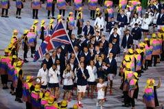Ολυμπιακός πρωτοπόρος Andy Murray που φέρνει την Ηνωμένη σημαία που οδηγεί ολυμπιακή ομάδα Μεγάλη Βρετανία στη τελετή έναρξης του Στοκ φωτογραφία με δικαίωμα ελεύθερης χρήσης