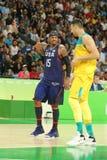Ολυμπιακός πρωτοπόρος Carmelo Anthony της ομάδας ΗΠΑ στην αντιστοιχία καλαθοσφαίρισης ομάδας Α δράσης duringt μεταξύ της ομάδας Η Στοκ Εικόνα