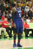 Ολυμπιακός πρωτοπόρος Carmelo Anthony της ομάδας ΗΠΑ στη δράση κατά τη διάρκεια της αντιστοιχίας καλαθοσφαίρισης ομάδας Α μεταξύ  Στοκ Εικόνες
