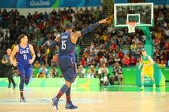 Ολυμπιακός πρωτοπόρος Carmelo Anthony της ομάδας ΗΠΑ στη δράση κατά τη διάρκεια της αντιστοιχίας καλαθοσφαίρισης ομάδας Α μεταξύ  Στοκ φωτογραφία με δικαίωμα ελεύθερης χρήσης