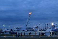 Ολυμπιακό πάρκο στο Sochi τη νύχτα Στοκ Φωτογραφία