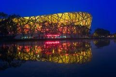 Ολυμπιακό πάρκο του Πεκίνου & μπλε ώρα Στοκ Φωτογραφία