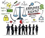 Ο υπάλληλος διορθώνει την επιχειρησιακή έννοια εργασίας ισότητας απασχόλησης διανυσματική απεικόνιση