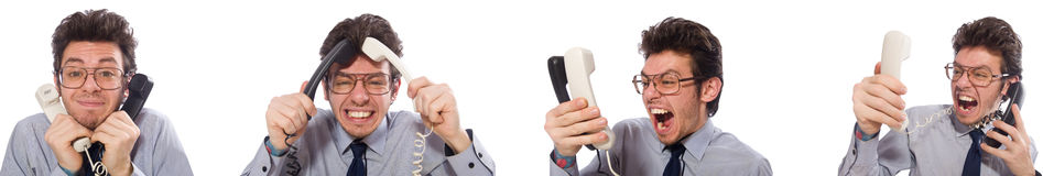 Ο 0 υπάλληλος τηλεφωνικών κέντρων στο κολάζ Στοκ Εικόνες