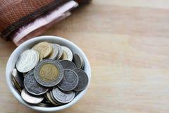 ο υπολογιστής δεσμών μπορεί να αλλάξει την αποταμίευση αποταμίευσης πεννών χρημάτων επιγραφών φακέλων ψυχαγωγίας οικονομίας δολαρ Στοκ Φωτογραφία
