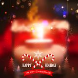 ο υπολογιστής Χριστουγέννων ανασκόπησης παρήγαγε το ευτυχές εύθυμο νέο διανυσματικό έτος εικόνας Στοκ Εικόνες