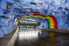 Ο υπόγειος σταθμός Stadion μετρό με τη ζωγραφική σχεδίου ουράνιων τόξων στη Στοκχόλμη, Σουηδία αφιέρωσε το τ Στοκ Φωτογραφίες