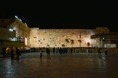 Ο δυτικός τοίχος Ιερουσαλήμ, άποψη νύχτας στοκ φωτογραφία