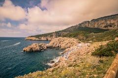 Ο φάρος Faro Di Punta Carena στο νησί Capri, Ιταλία στοκ φωτογραφία με δικαίωμα ελεύθερης χρήσης