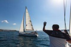 16ο φθινόπωρο 2016 Ellada regatta ναυσιπλοΐας μεταξύ της ελληνικής ομάδας νησιών στο Αιγαίο πέλαγος Στοκ Φωτογραφία