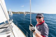 16ο φθινόπωρο 2016 Ellada regatta ναυσιπλοΐας μεταξύ της ελληνικής ομάδας νησιών στο Αιγαίο πέλαγος Στοκ φωτογραφία με δικαίωμα ελεύθερης χρήσης
