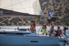 16ο φθινόπωρο 2016 Ellada regatta ναυσιπλοΐας μεταξύ της ελληνικής ομάδας νησιών στο Αιγαίο πέλαγος, στις Κυκλάδες και το Σαρωνικ Στοκ Εικόνα