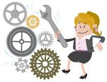 Ο φιλαράκος επιχειρηματιών καθορίζει τη μηχανή διανυσματική απεικόνιση
