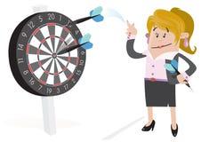 Ο φιλαράκος επιχειρηματιών χτυπά ένα Bullseye. διανυσματική απεικόνιση