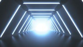 Ο φουτουριστικός κενός διάδρομος τρισδιάστατος δίνει απεικόνιση αποθεμάτων
