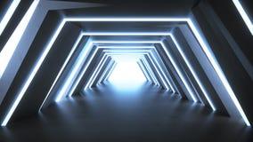 Ο φουτουριστικός κενός μπλε διάδρομος τρισδιάστατος δίνει διανυσματική απεικόνιση