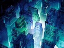 Ο φουτουριστικός μικροϋπολογιστής πελεκά την πόλη Υπόβαθρο τεχνολογίας πληροφοριών πληροφορικής Sci megalopolis FI τρισδιάστατη α Στοκ Εικόνα