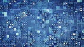 Ο φουτουριστικός τοίχος sci-Fi με τους μπλε κύβους τρισδιάστατους δίνει απεικόνιση αποθεμάτων