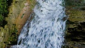 Ο φυσικός καταρράκτης κινηματογραφήσεων σε πρώτο πλάνο, νερό ρέει πέρα από τις πέτρες που εισβάλλονται με το πράσινο βρύο σε σε α φιλμ μικρού μήκους