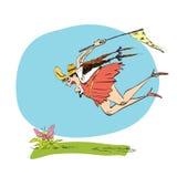 Ο φυσιοδίφης κοριτσιών πιάνει την πεταλούδα ένα δίχτυ Στοκ Εικόνα