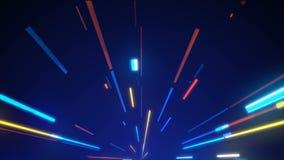 Ο φωτεινός βρόχος γραμμών νέου, σύγχρονη τεχνολογία νέου, immitation της μετακίνησης στο δρόμο νύχτας, τρισδιάστατος υπολογιστής  απόθεμα βίντεο