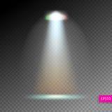 Ο φωτισμός σκηνής παρουσιάζει, φωτεινός φωτισμός με τα επίκεντρα, floodl διανυσματική απεικόνιση