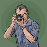 Ο φωτογράφος είναι στην εργασία απεικόνιση αποθεμάτων