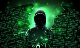 Ο χάκερ που χρησιμοποιεί το Διαδίκτυο χάραξε τον αφηρημένο κεντρικό υπολογιστή υπολογιστών, βάση δεδομένων, αποθήκευση δικτύων, α διανυσματική απεικόνιση
