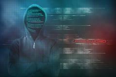 Ο χάκερ Pixelated κλέβει τον κωδικό πρόσβασης με μια cyber-επίθεση Στοκ Εικόνες