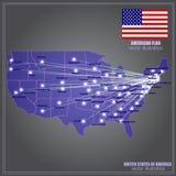 ο χάρτης συλλογής χαρτογραφίας της Αμερικής δηλώνει το ενωμένο διάνυσμα απεικόνιση διανυσματική απεικόνιση