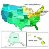 ο χάρτης της Αμερικής δηλώ&n επίσης corel σύρετε το διάνυσμα απεικόνισης στοκ εικόνες