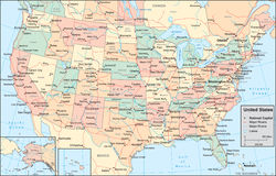 ο χάρτης της Αμερικής δηλώ&n απεικόνιση αποθεμάτων