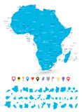 Ο χάρτης της Αφρικής με το είναι κράτη και επίπεδοι δείκτες χαρτών Στοκ Εικόνες