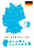 Ο χάρτης της Γερμανίας με το είναι κράτη και επίπεδοι δείκτες χαρτών Στοκ Εικόνες